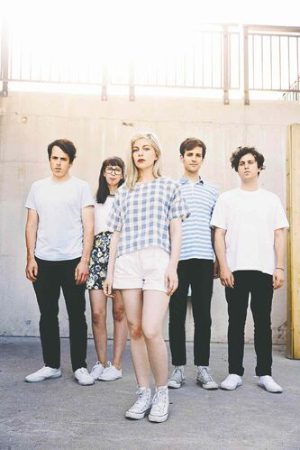 Molly Rankin, centre, is the somewhat reluctant focus of dreamy pop band Alvvays.