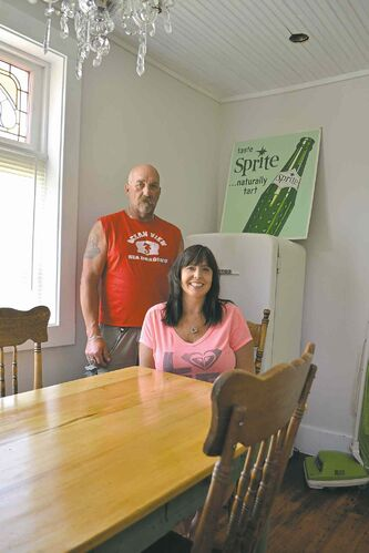 Nicole Zadorozny and Ron Prokopetz in the kitchen of their renovated store in Winnipeg Beach.