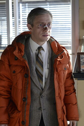 "This image released by FX shows Martin Freeman as Lester Nygaard in a scene from ""Fargo."" The 10-episode season premieres Tuesday at 10 p.m. EDT on FX."