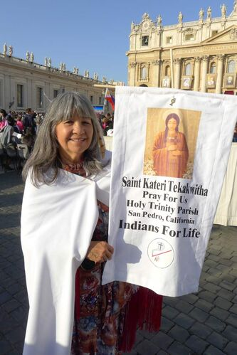 Clementine Little Hawk Hernandez, a Lakota Sioux, attends the canonizing ceremony of Kateri Tekakwitha at St. Peter's in Vatican City last October.