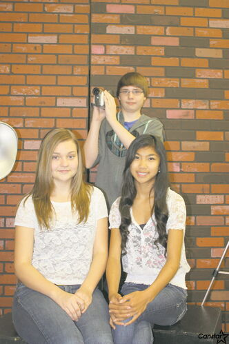 Kildonan-East students Ashlan  Labossiere (left), Jade Vilela, and Branden Clark who won first place in the Create and Rate Challenge.