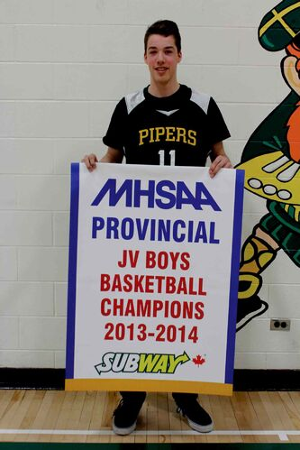 The John Taylor Collegiate Pipers junior varsity team won the MHSAA provincial JV boys basketball championship on March 15. James Wagner (pictured) was named provincial MVP.