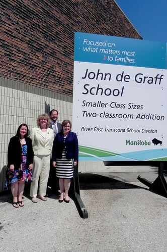 Rossmere MLA Erna Braun (second from left) is seen here with (l-r) Darlene Chaloner, President of the Parent Advisory Council, Concordia MLA Matt Wiebe, and John de Graff Principal Margaret Fair at an event announcing a two-classroom addition at John de Graff School.