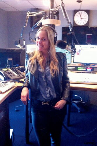 St. James native, Andrea Collins, at her Virgin Radio 96 office where she performs one of the highest-rated English language shows in Montreal.