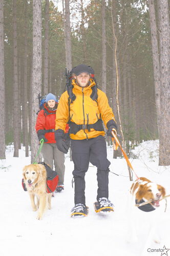 Taking your pets for a walk is a good way to keep all members of the family active during the winter.