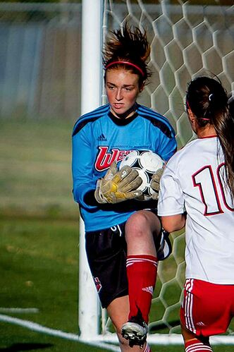 Ainsley McConkey is on the road to recover from a shoulder injury and hopes to regain her place as starting goalkeeper for the University of Winnipeg's women's soccer team.