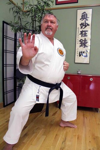 Kim Marshall, sensei at the Meibukan Gojyu Karate Winnipeg Dojo, taught martial arts to four kids from Keyes, Calif. in addition to his usual students.