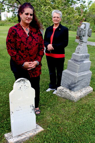 "Cuthbert Grant's burial grounds are the thing of myth and mystery, but Grant descendant Sandra Horyski (left) is making plans to have a marker placed in the cemetery of the St. François Xavier Roman Catholic Parish, next to his daughter Maria and her husband Pascal Breland.""I'm glad that it is finally being done,"" says parish representative Odile Thibert, at right."