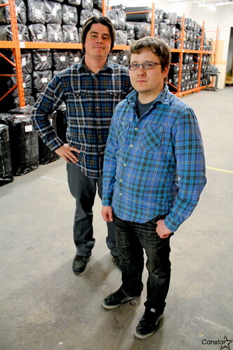Patrick Stewart (left) and Cody Cleave, who  coordinate warehouse operations for Canadian Lutheran World Relief.