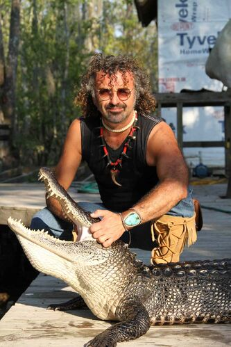 The Medicine Line host Dave Gaudet interacted with alligators in Louisiana as part of the series, which had North Kildonan's John Barnard serve as an executive producer.