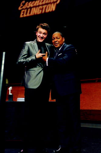 Transcona Collegiate Institute student Devon Gillingham is shown with jazz legend Wynton Marsalis.