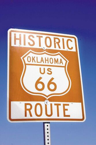 A Route 66 road sign in Tulsa.