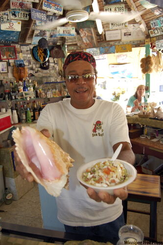 Max Ritchie of Max's Conch Shack, which is an institution on Bahamas' Long Island.