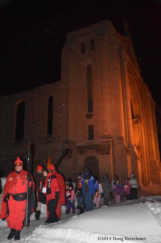 The torchlight March began at Festival Park and went all the way to St. Boniface Cathedral and the grave of Louis Riel before returning to the park.