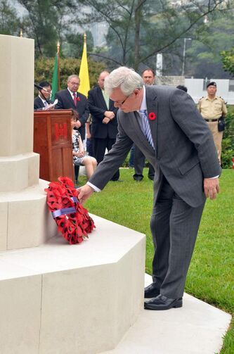 Premier Greg Selinger laid a wreath today at a ceremony at Sai Wan War Cemetery in Hong Kong to honour Manitobans who fought in the ill-fated defence of the British colony in WW II.