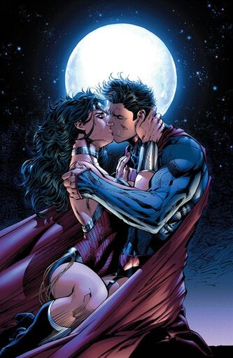 This comic book image released by DC Entertainment shows Wonder Woman and Superman kissing from the