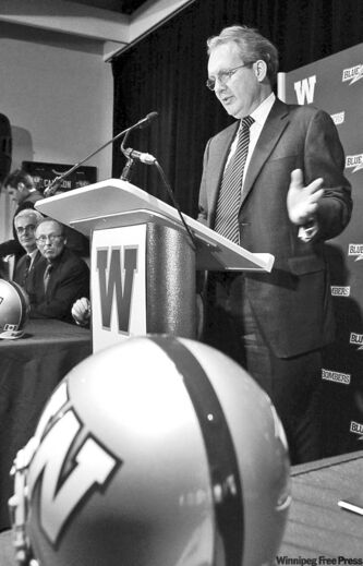Murray Taylor, president and CEO of Investors Group, announces that the financial services company has bought the naming rights to the Winnipeg Blue Bombers new stadium (top), which will be called Investors Group Field. The stadium is scheduled to open in time for the Winnipeg Blue Bombers home opener in 2012.