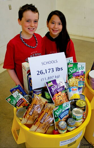 Photo by Matt Preprost École Varennes students Cameron Tramley and Kateesha Wai helped their St. Vital school raise 500 pounds of food for Winnipeg Harvest. The 14th annual Operation Donation saw 117,000 pounds raised for the food bank, located at 1085 Winnipeg Ave.