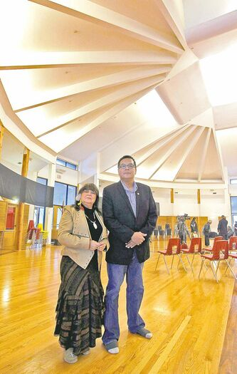 'Unfortunately, we've been told that cultural programming  does not fit the current government priority of economic development--  Kevin Hart, Circle of Life Thunderbird House board co-chairman, with board member Billie Schibler in Thunderbird House