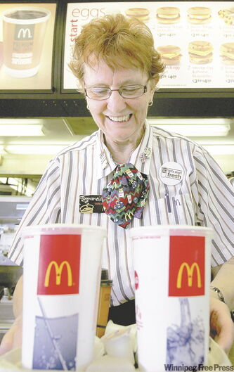 Thelma Roider works the counter at the McDonald's restaurant on Nairn Avenue.