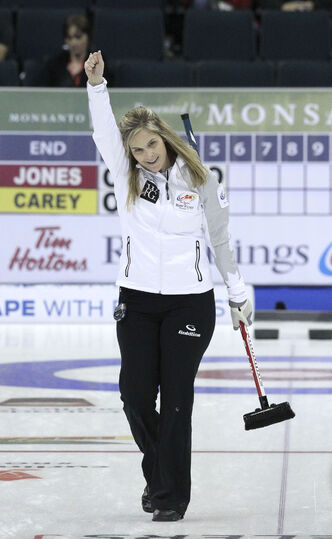 Jennifer Jones not only scored a decisive 10-2 win over the other Winnipeg women's team -- Chelsea Carey -- she did so scoring a six-ender, for only the second time in Canadian trials history.
