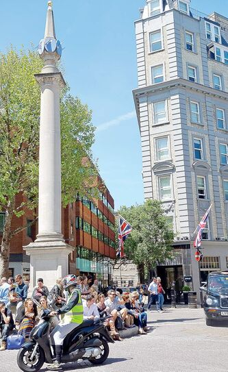 Seven Dials monument in historic Covent Garden.