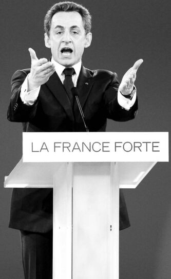 France's president  and candidate for re-election in 2012, Nicolas Sarkozy, gestures as he delivers a speech during a meeting in Villepinte, east of Paris, Sunday, March 11.