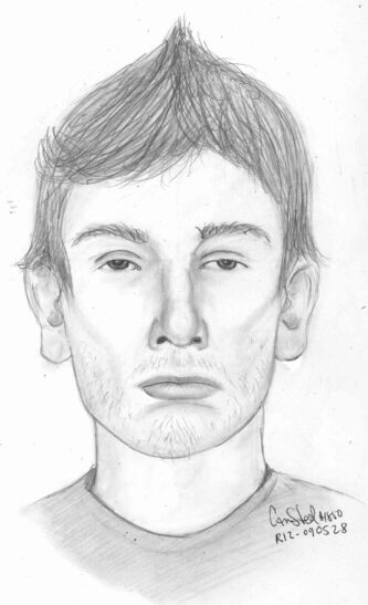 The suspect is Caucasian with dark-coloured eyes and a muscular build with dark hair which may be spiked on top. The are also looking for information on a female who may have been in his company.