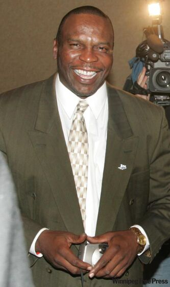 Former Winnipeg Blue Bomber Tyrone Jones prior to a news conference announcing Bomber all-time greats in 2005. It was announced Sunday the late Jones will be inducted into the Canadian Football Hall of Fame.