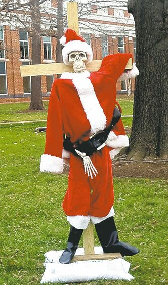Skeleton Santa in Leesburg, Dec. 16, 2001.