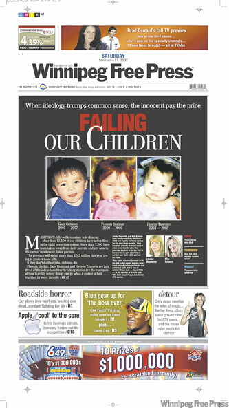 Free Press coverage of children's deaths under the care of Manitoba Child and Family Services.