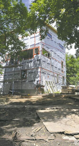 A view of the southwest corner of the Thomas home, a work in progress, on July 23, 2013.