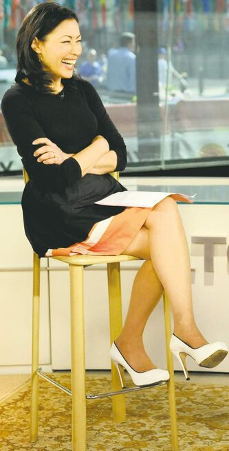 Former NBC Today host Ann Curry wears a dress and high heels for an interview.