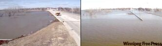 Views of a bridge in Morris, Man., before (left) and after flood waters rose in Manitoba.