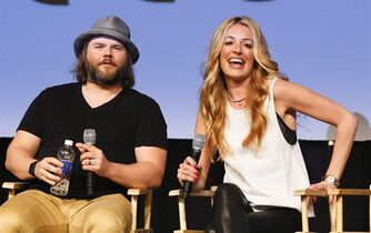 Tyler Labine, left, and Cat Deeley discuss their new Hulu series
