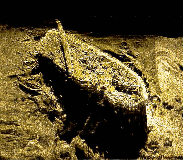 A side-scan sonar image of the HMS Investigator, at the bottom of Mercy Bay, N.W.T