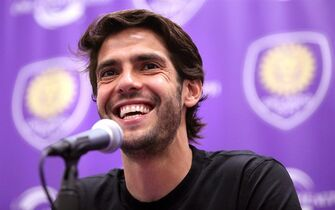 Orlando City superstar Kaka listens to a question during a news conference at the Orlando City Soccer media day in Orlando, Fla., Wednesday, March 4, 2015. The MLS players may go on strike if a new deal with the league isn't reached. They are fighting for free agency, but a raise in the minimum salary is also on the table as they negotiate a labor contract to replace the agreement that expired Jan. 31. (AP Photo/Orlando Sentinel, Joe Burbank) MAGS OUT; NO SALES