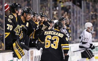 Boston Bruins left wing Brad Marchand (63) is congratulated by teammates after his goal against the Los Angeles Kings during the second period of an NHL hockey game, Saturday, Jan. 31, 2015, in Boston. (AP Photo/Charles Krupa)