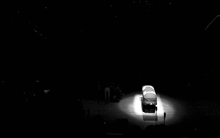 the canadian pressJack Layton�s casket sits in Roy Thomson Hall in Toronto during state funeral.