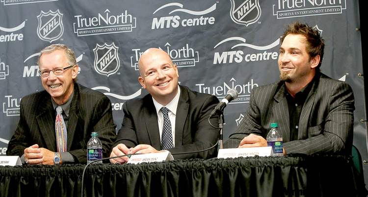 From left: Dennis Beyak and Brian Munz will be the play-by-play voices of the Jets on TSN and 1290 Sports Radio while Shane Hnidy will be the colour analyst on radio broadcasts.