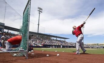 Los Angeles Angels' Albert Pujols hits balls into a net as a substitute for batting practice prior to a spring training baseball game against the Seattle Mariners Monday, March 30, 2015, in Peoria, Ariz. (AP Photo/Lenny Ignelzi)