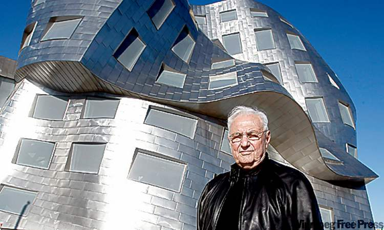Frank Gehry is seen in front of his Cleveland Clinic Lou Ruvo Center for Brain Health in Las Vegas.
