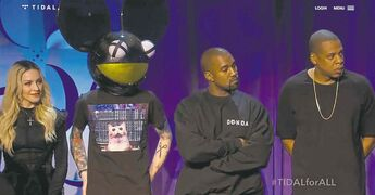 From left, Madonna, Deadmau5, Kanye West and Jay-Z at Monday's launch.