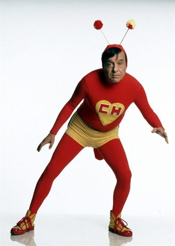CORRECTS NAME OF CHARACTER PORTRAYED - In this undated photo released by the television network Televisa on Friday, Nov. 28, 2014, Mexican comedian Roberto Gomez Bolanos known as Chespirito poses for a photo as his famous character El Chapulin Colorado. According to Televisa, where he worked, the famed comedian died Friday. He was 85. (AP Photo/Televisa)