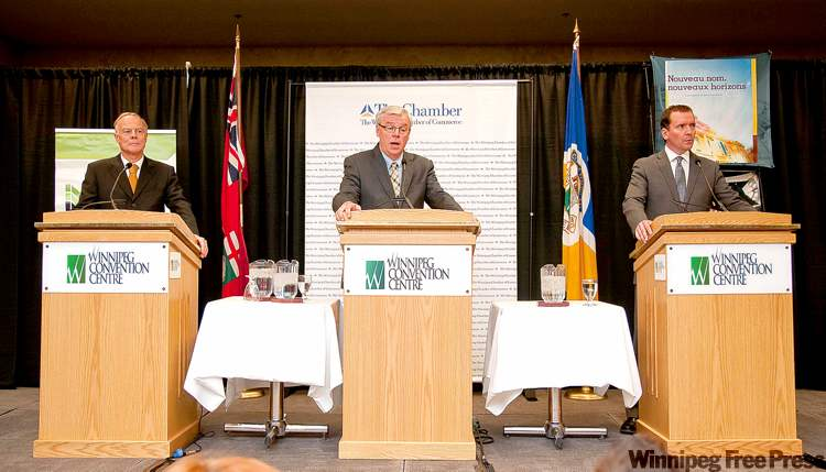 Party leaders Jon Gerrard of the Liberals (from left), the NDP's Greg Selinger and Hugh McFadyen of the Progressive Conservatives haven't been bold with their election ideas, writes the Chamber of Commerce's Dave Angus.