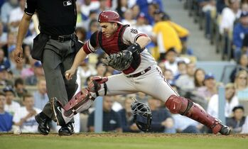 Arizona Diamondbacks catcher Miguel Montero goes after the ball during the fifth inning of a baseball game against the Los Angeles Dodgers, Saturday, April 19, 2014, in Los Angeles. (AP Photo/Jae C. Hong)