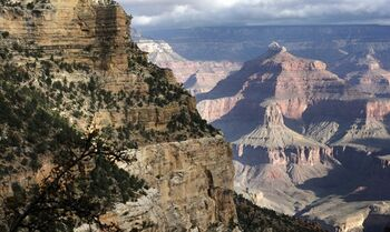 FILE - This Oct. 22, 2012 file photo shows a view from the South Rim of the Grand Canyon National Park in Arizona. For those who know and love the Grand Canyon, the names of its historic lodges are synonymous with the national park itself. But the right to use those names is ripe for debate after a longtime Grand Canyon concessionaire applied to trademark them. (AP Photo/Rick Bowmer, file)