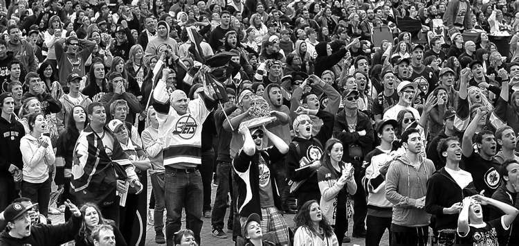 Wayne Glowacki/Winnipeg Free PressBeing shut out of the MTS Centre didn�t prevent thousands of fans at The Forks from enjoying the Jets opener.
