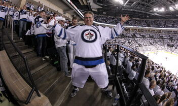 Dancing Gabe minutes prior to the start of the third game of the Stanley Cup playoff series between the Winnipeg Jets and the Anaheim Ducks at MTS Centre Monday night.