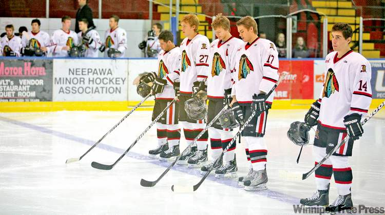 Neepawa Natives players get ready to take on the Dauphin Kings Wednesday night in Neepawa. The team is embroiled in controversy following a hazing incident in September.